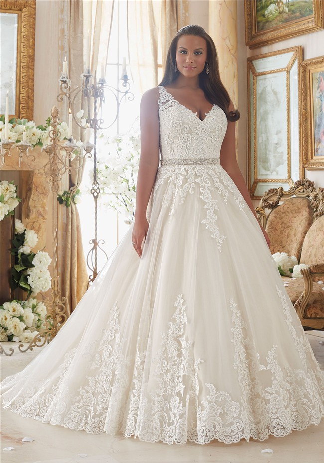 Ball Gown V Neck Sheer Back Tulle Lace Plus Size Wedding