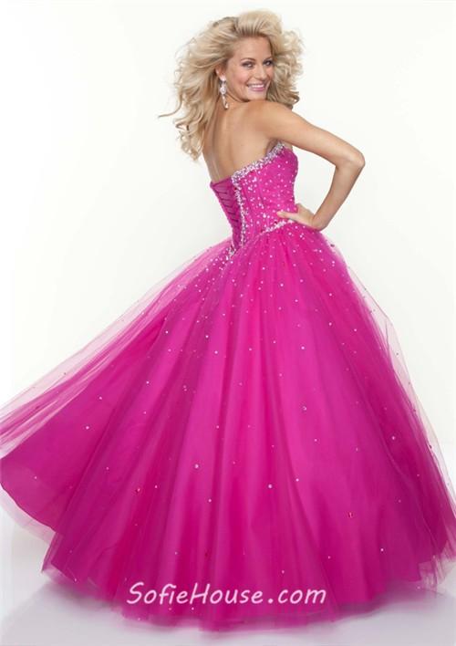 Ball Gown sweetheart floor length fuchsia tulle beaded prom dress ...