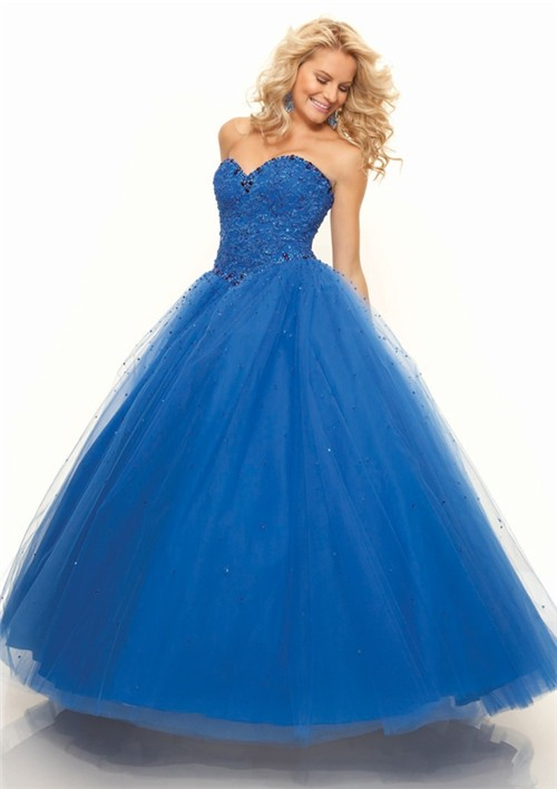 Gown sweetheart floor length royal blue tulle prom dress with lace
