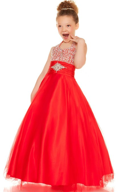 Halter Red Tulle Beaded Little Flower Girl Party Prom Dress