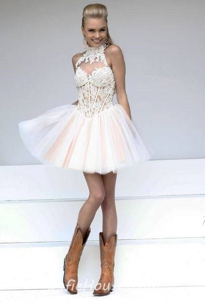 Ball High Neck Keyhole Open Back Short White Tulle lace Tutu ...
