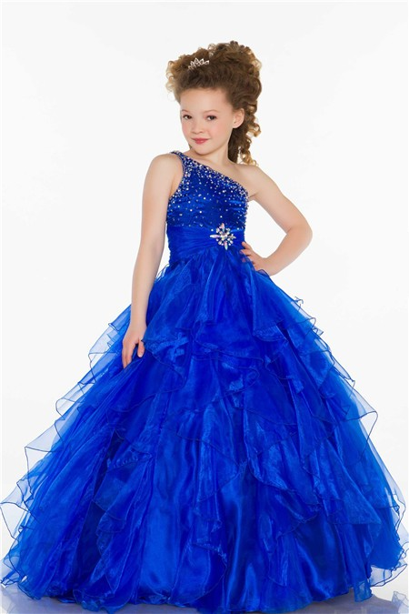 c9e428bb237 Ball One Shoulder Royal Blue Beaded Organza Ruffle Little Girl Evening Prom  Dress