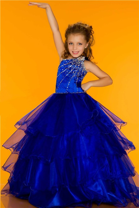 Ball One Shoulder Royal Blue Tiered Organza Ruffle Girl