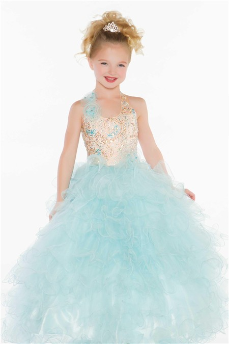 Ball Princess Halter Light Blue Puffy Tulle Beaded Flower Girl ...
