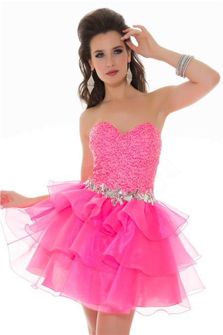 Strapless Short/ Mini Hot Pink Sequin Tiered Organza Cocktail Prom ...