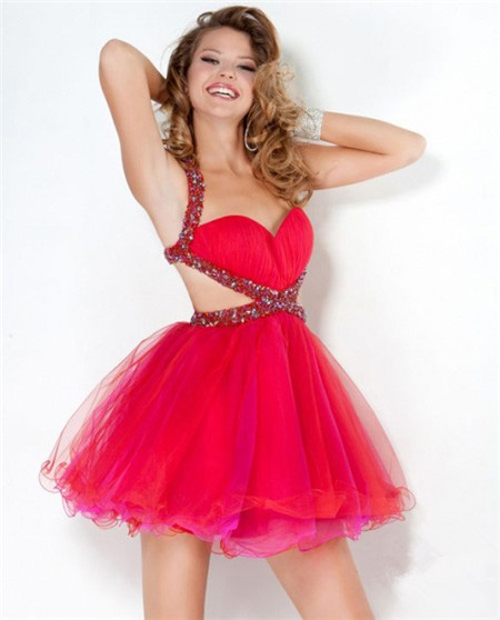9cf795fc947 Ball Sweetheart Short Mini Red Tulle Beaded Sweet Sixteen Cocktail Party  Dress