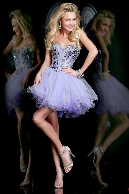 Ball Sweetheart Short Purple Satin Tulle Crystal Beading