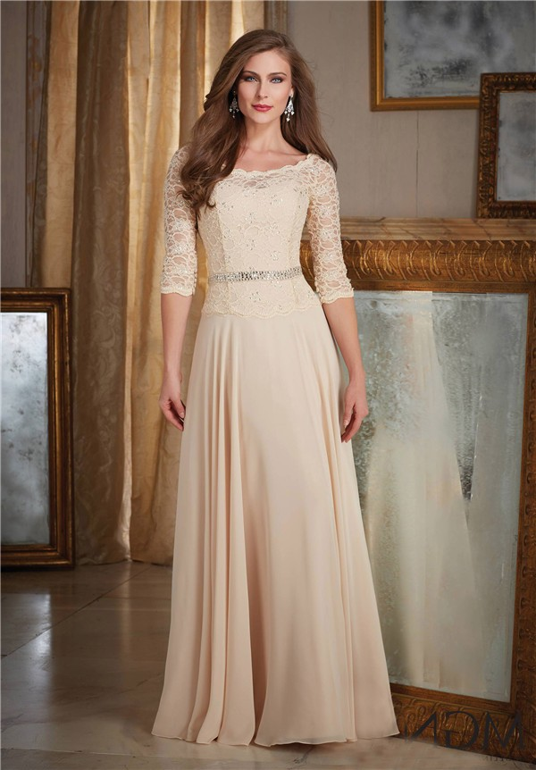 Champagne chiffon lace mother of the bride evening dress with sleeves