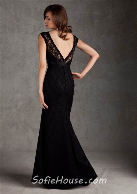 Low Back Wedding Guest Dresses : Low v back long black lace wedding guest bridesmaid dress with buttons