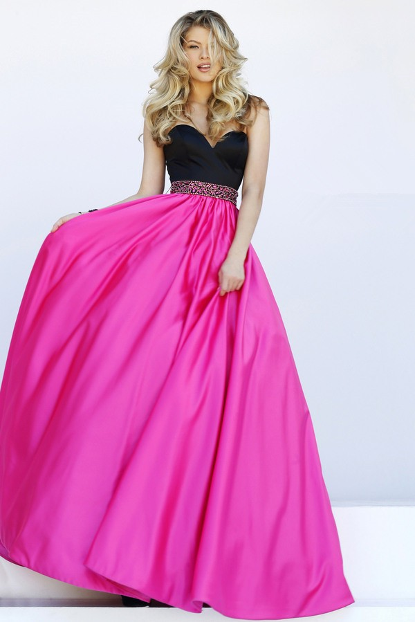 Hot Pink Black Prom Dress