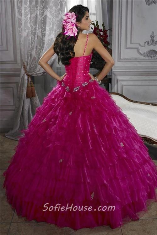 703d7106e64 Beautiful Ball Gown Fuchsia Organza Quinceanera Dress With Beading Ruffles