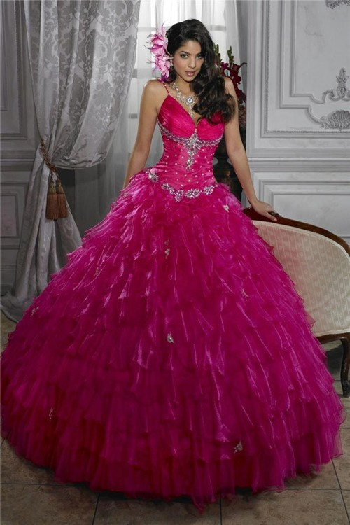 Beautiful Ball Gown Fuchsia Organza Quinceanera Dress With Beading ...