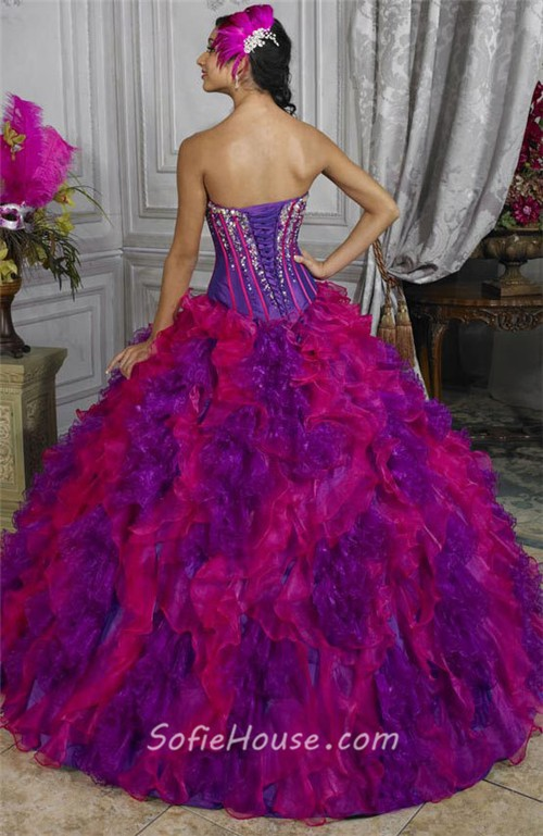 Beautiful Ball Gown Red Purple Organza Quinceanera Dress