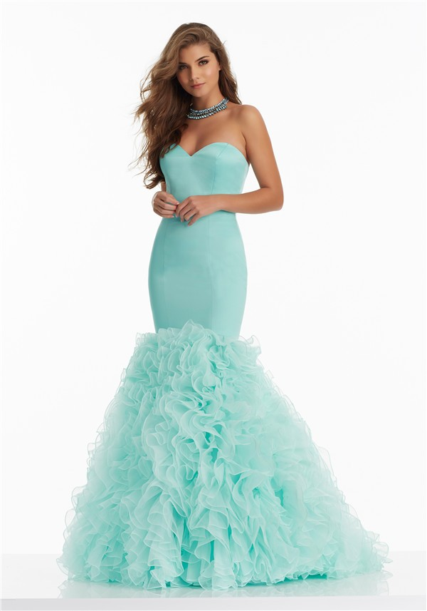 Beautiful Mermaid Sweetheart Corset Aqua Satin Organza