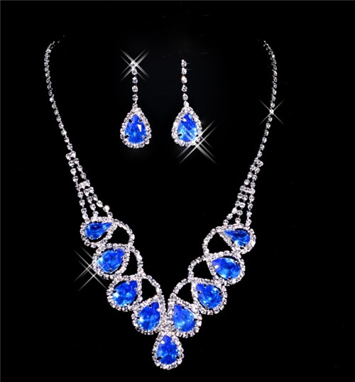 Beautiful blue crystal Wedding Bridal Jewelry SetIncluding Necklace