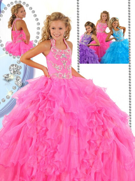 Puffy Pink Organza Ruffle Beaded Little Girls Pageant Party Prom Dress