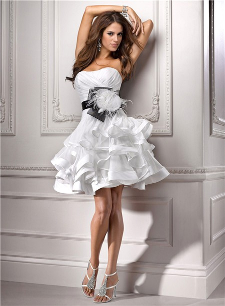 Ball Strapless Informal Short Mini Organza Wedding Dress With