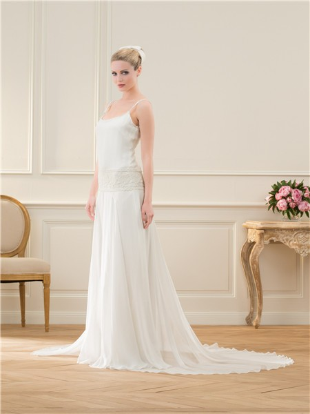 Casual Spaghetti Strap Wedding Dress