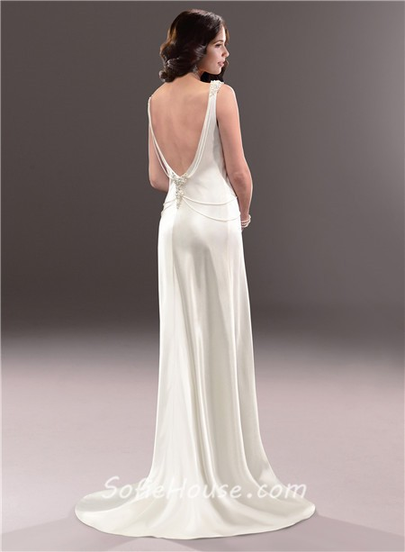 Casual Sexy Sheath Open Back Ivory Satin Wedding Dress