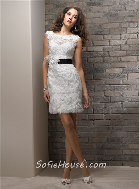 Casual Sheath Bateau Short Lace Beach Wedding Dress With Black Sash