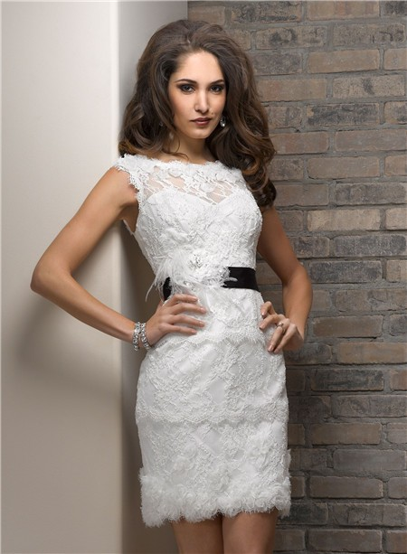 Casual Sheath Bateau Short Lace Beach Wedding Dress With Black Sash ...