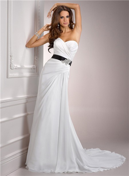 Casual Simple A Line Sweetheart Chiffon Wedding Dress With Black Sash  Crystal