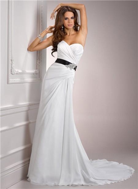 Casual simple a line sweetheart chiffon wedding dress with for Chiffon sweetheart wedding dress