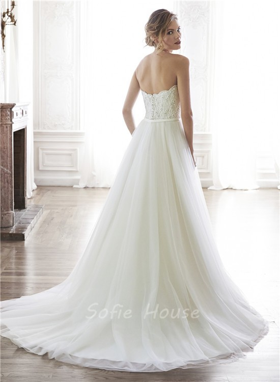 Charming A Line Strapless Tulle Lace Beaded Wedding Dress