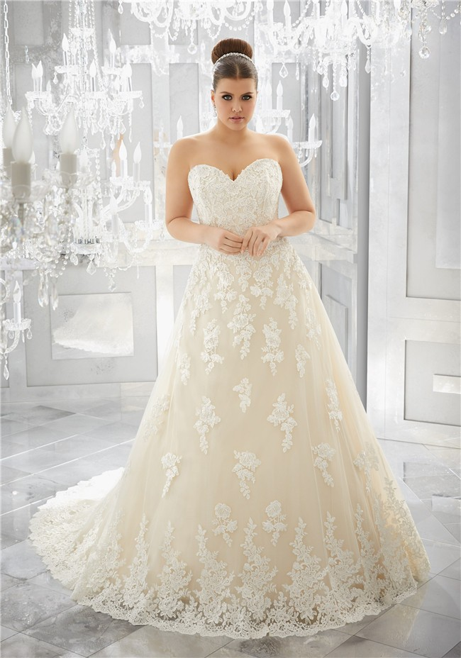 Charming a line sweetheart champagne tulle lace plus size for Free plus size wedding dress catalogs