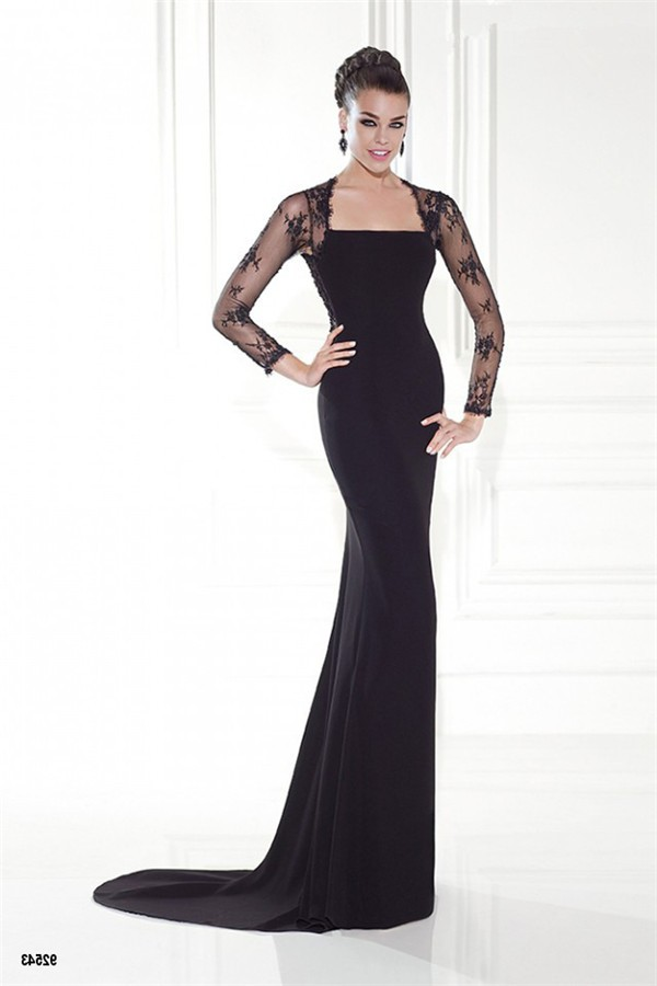 Charming Long Lace Sleeve Open Back Black Satin Evening Dress With Bows