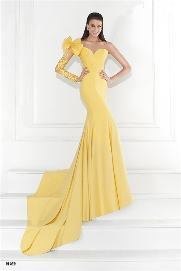 Charming Mermaid One Shoulder Backless Yellow Satin Lace Sleeve Prom ...