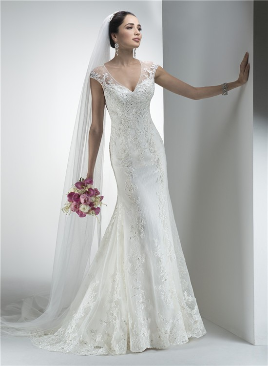 V Neck Wedding Dresses With Sleeves : Mermaid v neck sheer back cap sleeve vintage lace wedding dress