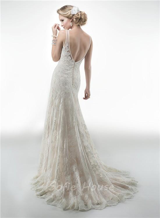 Charming mermaid v neck sleeveless open back vintage lace for Vintage open back wedding dresses