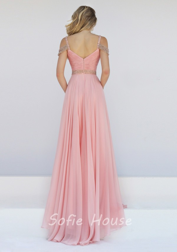 Blush Pink One Shoulder Chiffon Dress