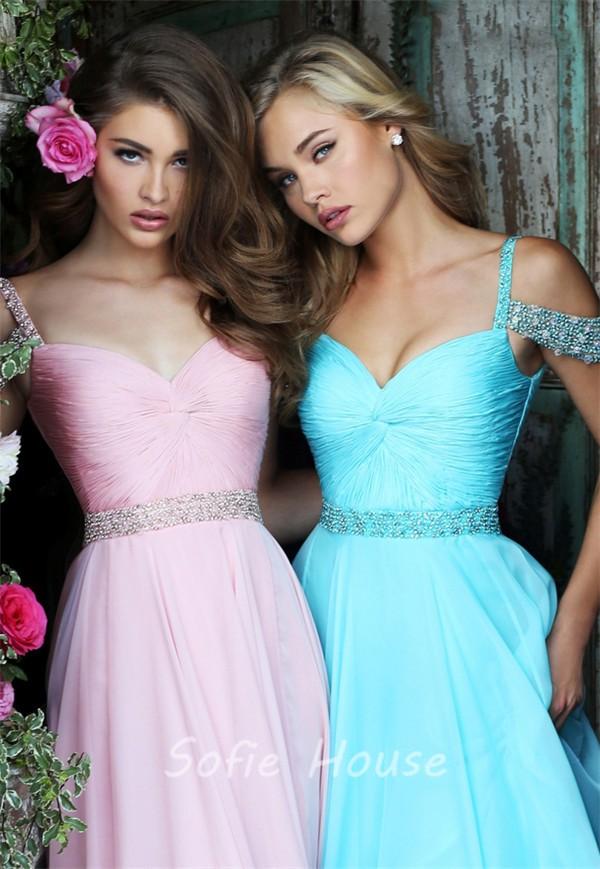 6f3de39d1341 Charming Off The Shoulder Long Blush Pink Chiffon Flowing Prom Dress