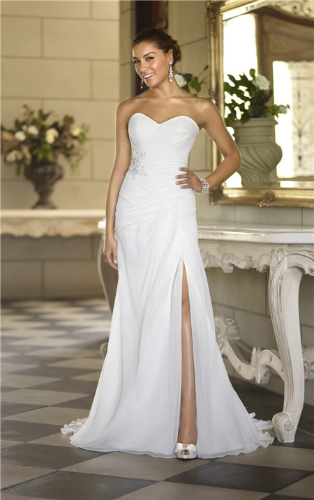 Strapless Chiffon Ruched Corset Garden Wedding Dress With Slit