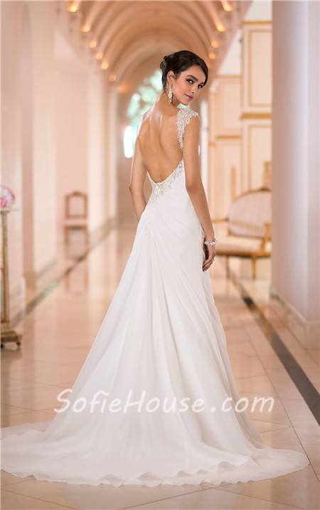 Charming Sweetheart Backless Chiffon Draped Wedding Dress With Straps