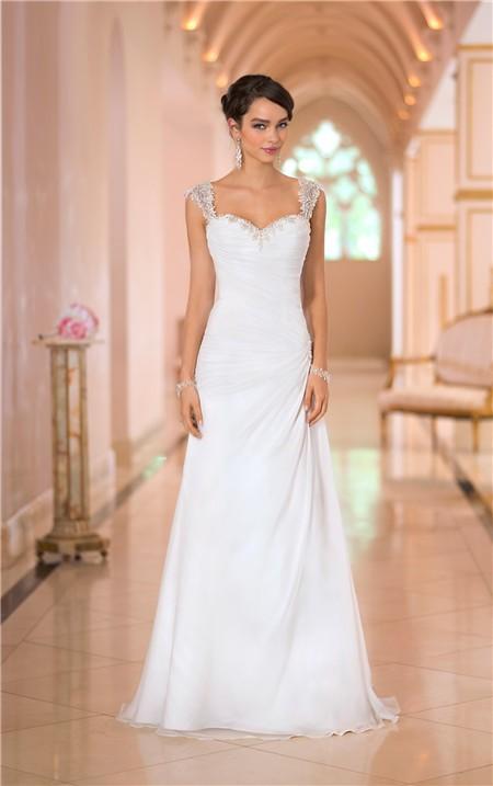 Charming sweetheart backless chiffon draped wedding dress for One strap wedding dress