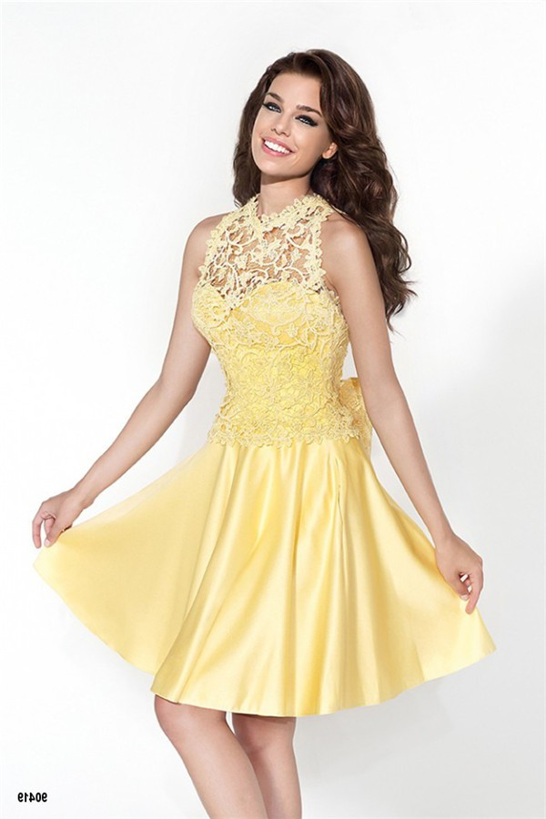 Charming Sweetheart Short Yellow Satin Party Prom Dress