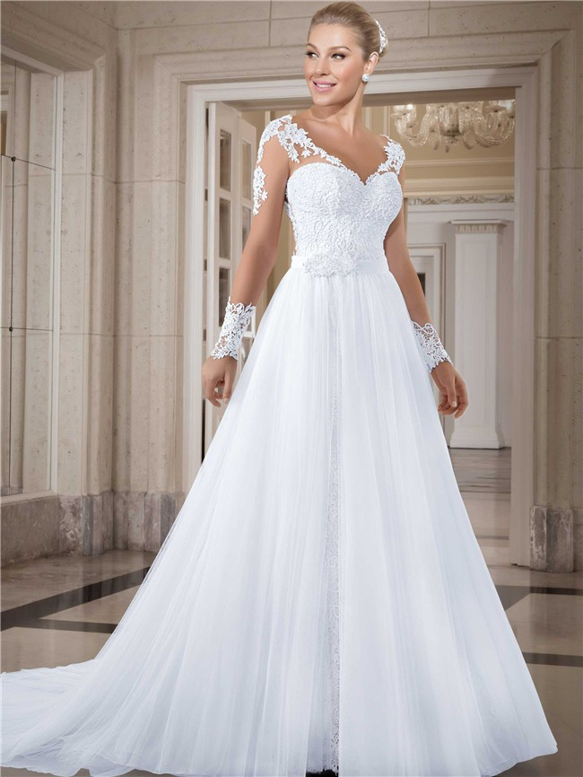 Charming V Neck Long Sleeve Lace Tulle Two In One Wedding Dress ...