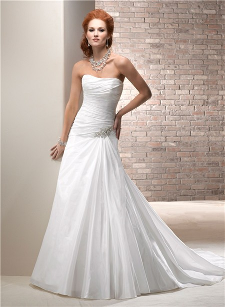 Civil simple a line strapless taffeta wedding dress with for Bridal dress for civil wedding