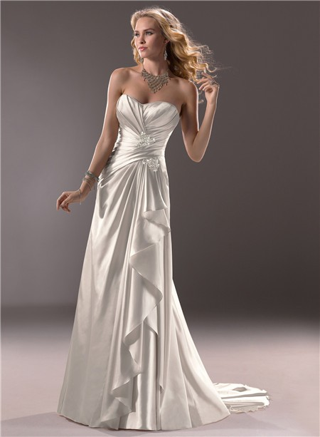 Civil slim a line sweetheart satin wedding dress with for What is ruching on a wedding dress