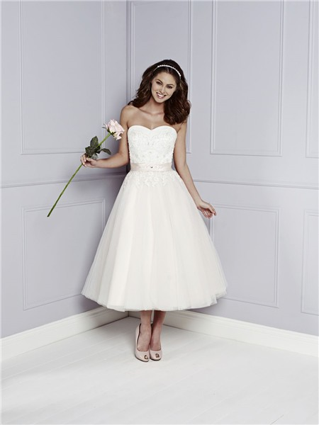 White Tulle Tea Length Dress