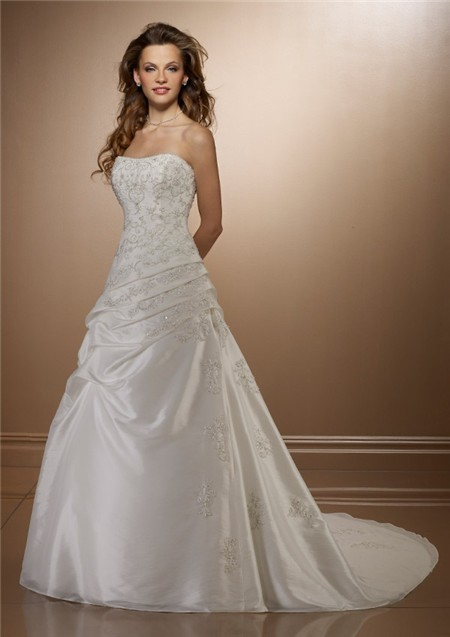 Classic a line strapless ruched taffeta lace beaded for Beaded corset wedding dress