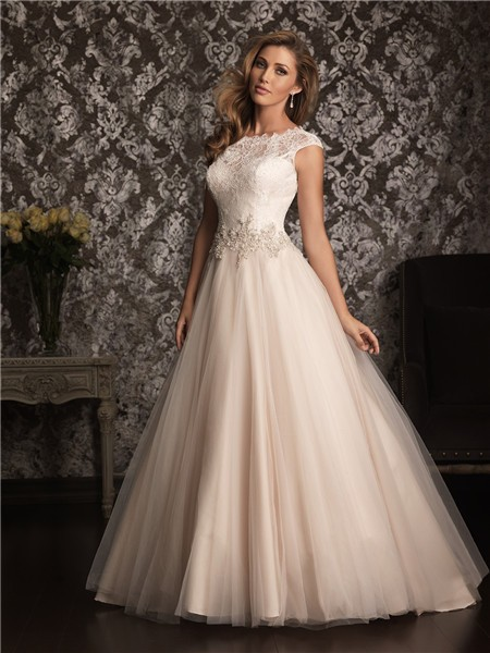 Classic Ball Gown Cap Sleeve Champagne Lace Tulle Wedding ...