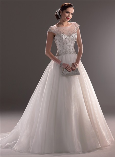 Classic Ball Gown Illusion Neckline Cap Sleeve Tulle