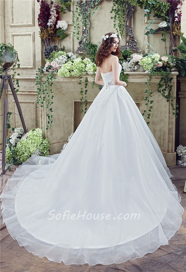 Classic ball gown strapless corset back organza crystal for Ball gown wedding dresses with long trains