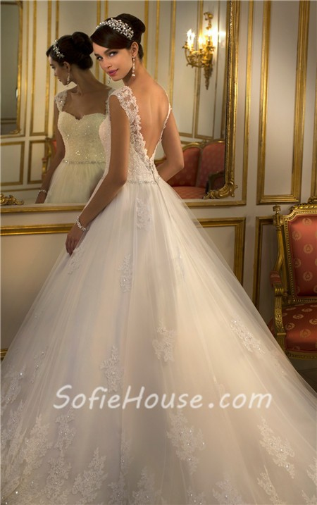 classic ball gown sweetheart open back lace beaded wedding