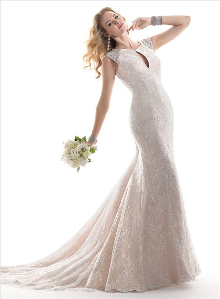 Classic mermaid keyhole neckline champagne color lace for Champagne color wedding dresses