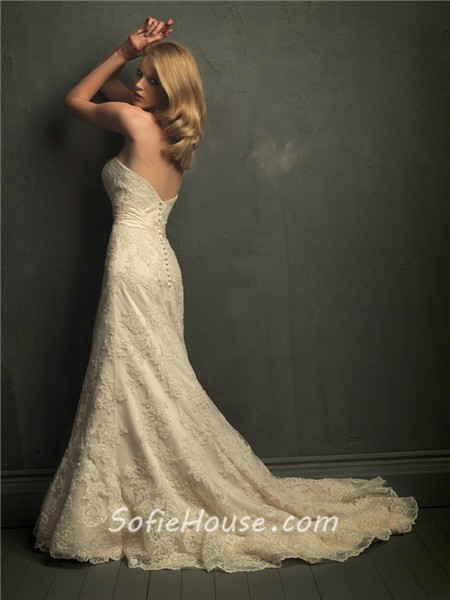 Classic mermaid strapless champagne lace wedding dress for Belt for lace wedding dress
